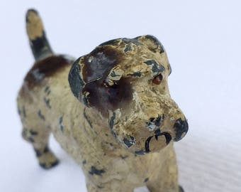 Antique solid lead toy dog Lead toy terrier  Hunting dog ornament Vintage lead airedale fox cairn jack russell