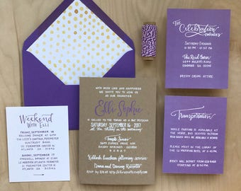 Purple Bat Mitzvah Invitation Set / Bat Mitzvah Invitation / Bar Mitzvah Invitation / Custom Mitzvah Invitation / Modern Bat Mitzvah Invite