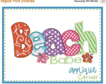 40% OFF Beach Babe applique digital design for embroidery machine by Applique Corner