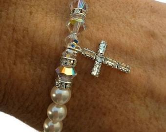 Swarovski Pearl and Crystal Bracelet, Swarovski Pearls, Swarovski Crystal Cross Bracelet, Faith Bracelet
