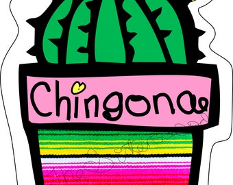 CHINGONA CACTUS with BOW 1 Instant Download Clip Art for Stickers, Decals, Planners