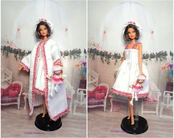 Nightgown and dressing gown for doll type barbie