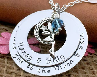 Love You to the Moon & Back Necklace, Personalised Jewellery, Personalised Gift for Women, Gift for Mum, Gift for Her