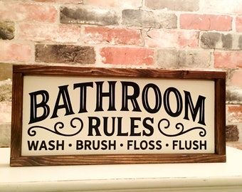 Bathroom rules painted solid wood sign