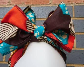 Headtie - African Headwraps - African Print Headtie - African Headgear - Headbands - Orange Star Print - Hair Accessories by Afrocentric805