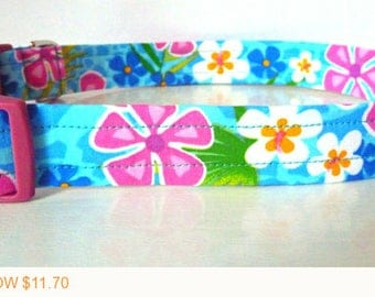 "Puppy Love Sale - 40% Off Hawaiian Floral Dog Collar - Summer Dog Collar - ""Alani"" - Free Colored Buckles"