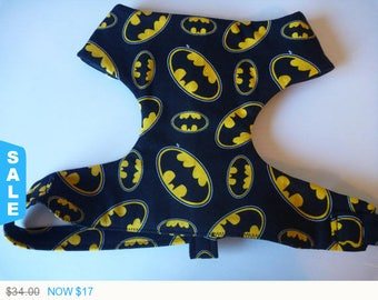 "Sale - 50% Off Batman Soft Dog Harness-Black & Yellow Harness ""Batman"" - Soft on Your Dogs Skin - Available"
