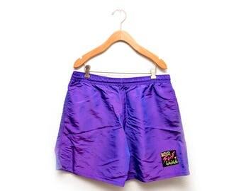 80s Iridescent Purple Surf Swim Trunks Board Shorts Mens Large XL