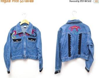 ON SALE 90s Lizard Embellished Denim Jacket Women's Medium