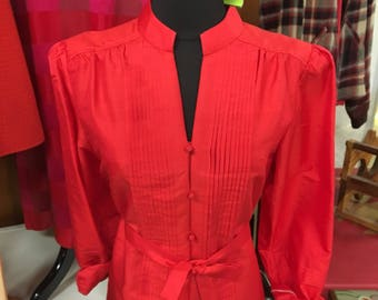 Vintage Thai silk red pleated blouse with split sides and belt M/L