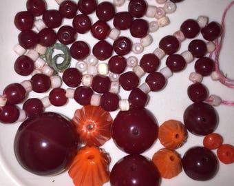 Czech Glass Beads Vintage Deco Glass Beads Deep Red Orange & White Beads Fabulous Art Deco Choker Loose Beads Wholesale Beads