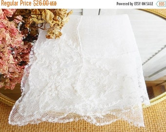 Sale Art Nouveau Wedding Hankerchief White Antique Wedding Hankie With Lace Edge/Bridal Hankie/Something Old /Tea Party/Home Decor