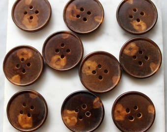 vintage vegetable ivory tagua nut  buttons 10 buttons dark and light brown  4 holes 1 inch diameter 1930's excellent condition