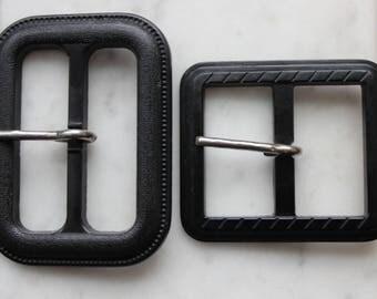 vintage black plastic buckles early plastic 1950's
