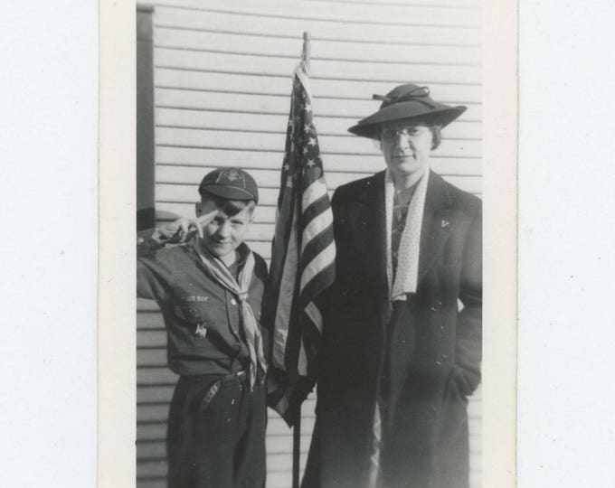 Cub Scout, American Flag, Mother, c1930s: Vintage Snapshot Photo [82653]