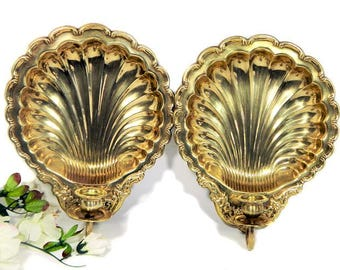 A Pair of Brass Shell Candle Wall Sconces
