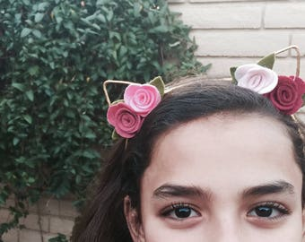 Felt flowers kitty cat ears headband