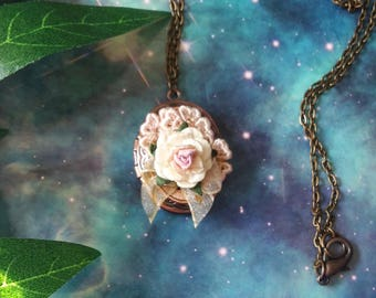 Super cute tiny floral locket necklace