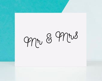 Mr & Mrs Greeting Card Size A2 4.25 x 5.5 Inches, Blank Inside For The Personalized Note, Christian Wedding, Fancy Engagement Card Design