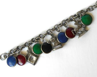 Vintage Coro Charm Bracelet Colorful with Horses Silver Pewter Tone signed
