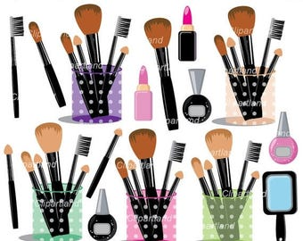 ON SALE INSTANT Download. Makeup brush set. Cosmetics clipart. Personal and commercial use.