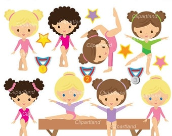 ON SALE INSTANT Download. Cgym_10_Gymnastics. Girls gymnasts. Personal and commercial use.