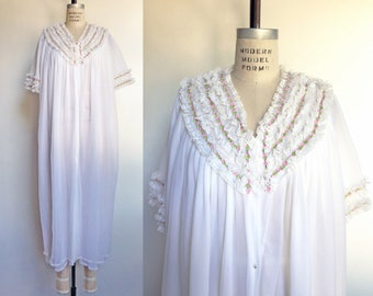1960s Peignoir Robe White Chiffon Floral Lace Ruffle Vintage 60s Lingerie Nightgown Negligee / Large XL