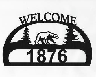 Address Sign, Cabin Sign, Wildlife Sign, Cabin Decor, Porch Decor, Metal Sign, Custom Sign, Personalized Sign, Porch Sign, Bear Address Sign