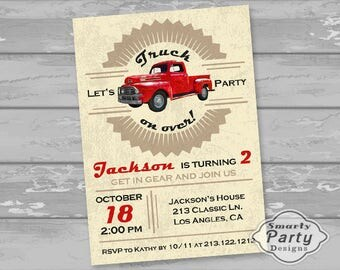 Vintage Truck Birthday Invitation Boy Party Invite Red Printable Personalized 4 x 6 or 5 x 7