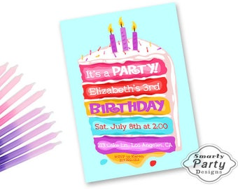 Birthday Cake Invitations Invite Candles Icing Sprinkles Printable Personalized Customized 5x7 or 4x6