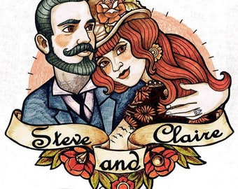 Couple Portrait Temporary Tattoo - Wedding Temporary Tattoos Custom - Custom Temporary Tattoos - Custom Portrait- Couple Illustration Tattoo