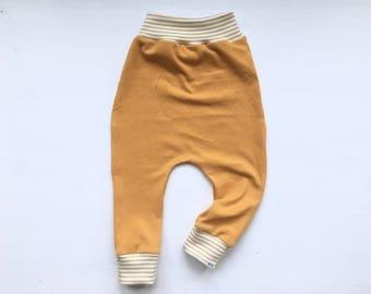 Baby Harem Pants   Grow With Me Pants   Baby Harems   Baby Joggers   Hipster Baby Pants   Toddler Harem Pants   Mustard Yellow Leggings