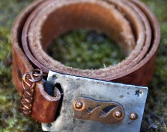Handmade Leather Belt with Hand Forged/Sculpted Metal Buckle