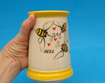 "SALE: ""Buzz"" Bees, Ladybugs  and Hearts, Beer Stein, Handcrafted Pint, ! Slight Second"