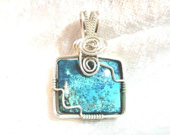 20x15 Turquoise Pendant Rectangle East West Design Wire Wrapped Solid Sterling Silver 935 Argentium Anti Tarnish wire