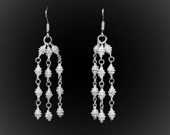 Earrings Chic Attitude triple silver embroidery