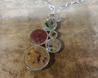 Custom Keepsake / Memorial Pendant or Necklace made from your Flower Petals or Pet fur or Cremains - MEMORY BUBBLES