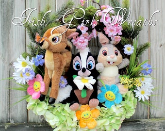 Spring Wreath, Bambi and Friends Springtime Wreath, Disney Bambi Thumper and Flower the Skunk Child Wreath, Nursery Wreath