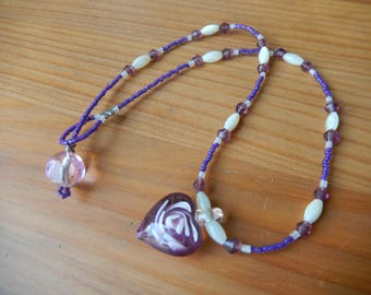 Beaded Necklace - Purple and White with Glass Heart Pendant - Handmade - Girls, Women - Shell and Glass Beads, Love, Hippie, Boho, Natural