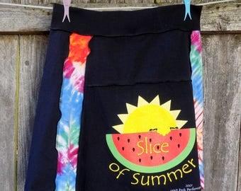 T Shirt Skirt - Knee Length - Watermelon - Repurposed - Slice of Summer - Tie Dye - Made in Oregon - Artful Fun Clothing - Summer Vacation