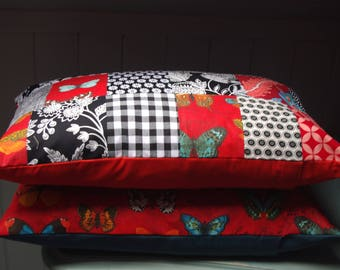 DECO Bohemian Kotyo & Co, red and black PATCHWORK cushion, butterflies