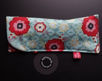 Glasses case quilted, blue TURQUOISE and red, flowers...