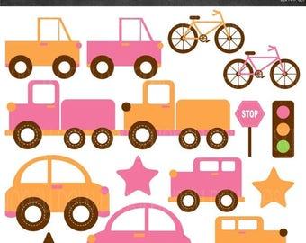 50% OFF Transportation Clipart - Pink and Orange - Instant Download