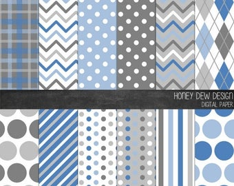 50% OFF Patterned Digital Paper - Denim and Grey - Instant Download