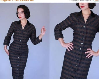 25% OFF 1950s Dependable dress | vintage early 50s black & brown plaid button front wiggle dress | medium / large
