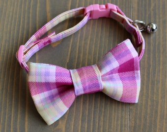 Easter Bow, Pink Plaid Lightweight Fabric Cat Collar with Matching Bow Tie, Breakaway Clasp, Safety Buckle, Adjustable, Bell, Spring