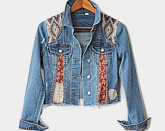 Boho Women's Junior's Tattered Jean Jacket / Embellished Denim Festival Top Size XS Upcycled Clothes Reloved Clothing Co