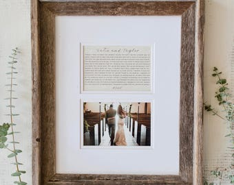 Wedding Frame | Wedding  Picture Frame | Anniversary Gift : Framed Vows or Song Lyrics with Matching Picture Frame