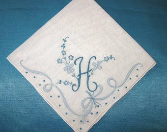 Monogrammed Handkerchief Initial H Letter, Hankerchief Embroidered Letter Monogramed