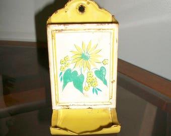 Vintage tin Match holder SunFlower wall mount